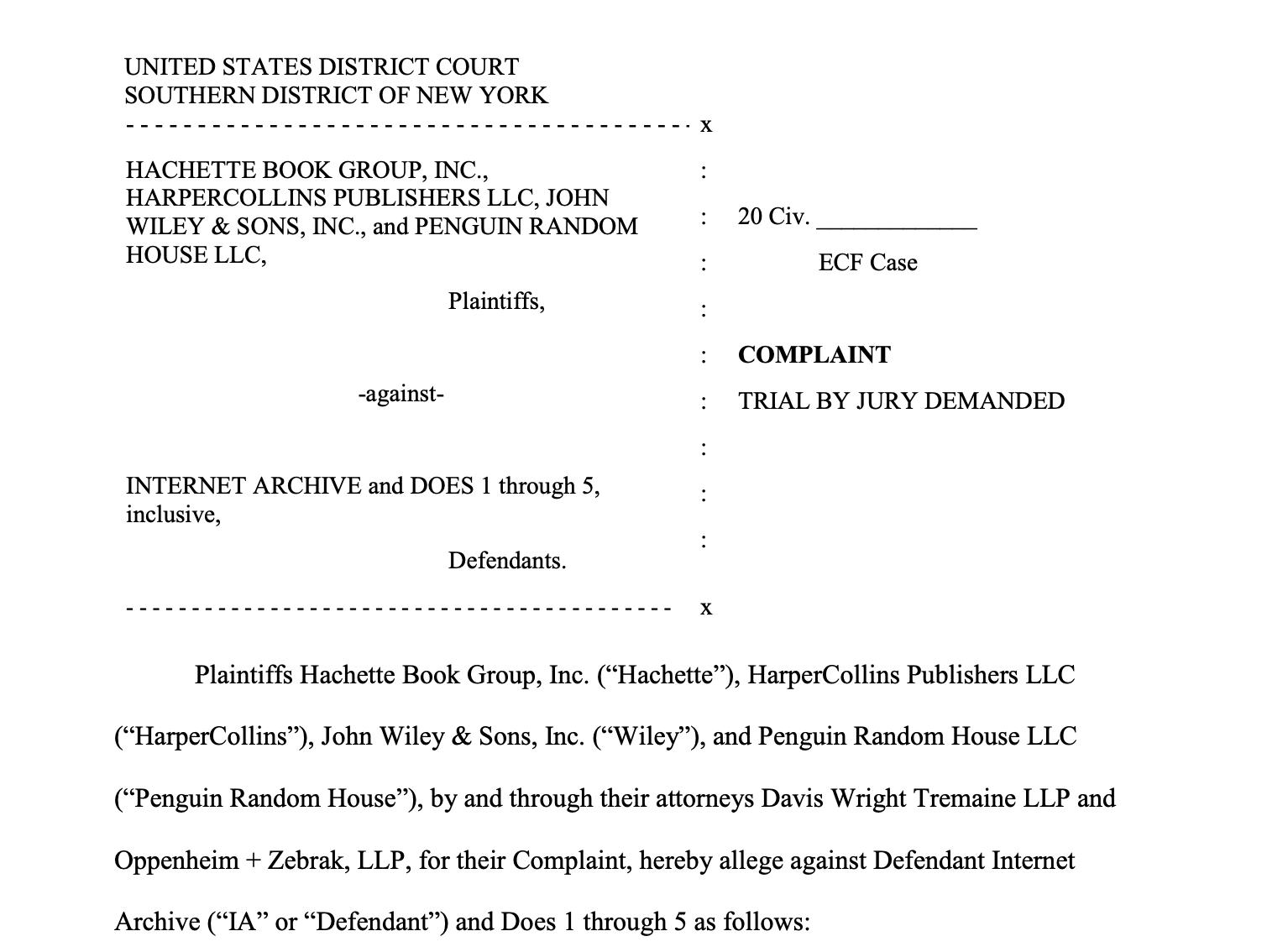 Lawsuit document against Internet Archive by 4 corporate publishers